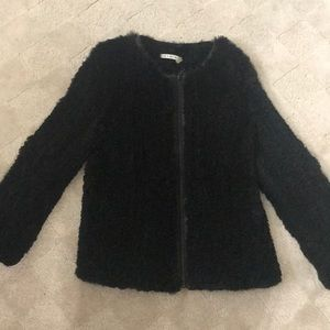 Alice+Olivia black rabbit fur jacket. Size XS